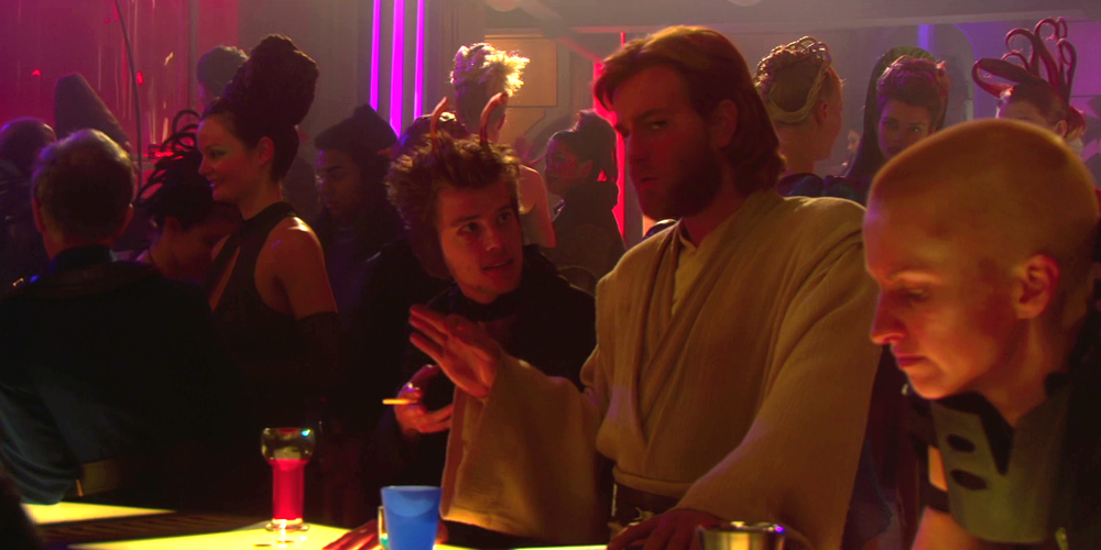 Obi-Wan Kenobi offers some advice to Elan Sleazebaggano