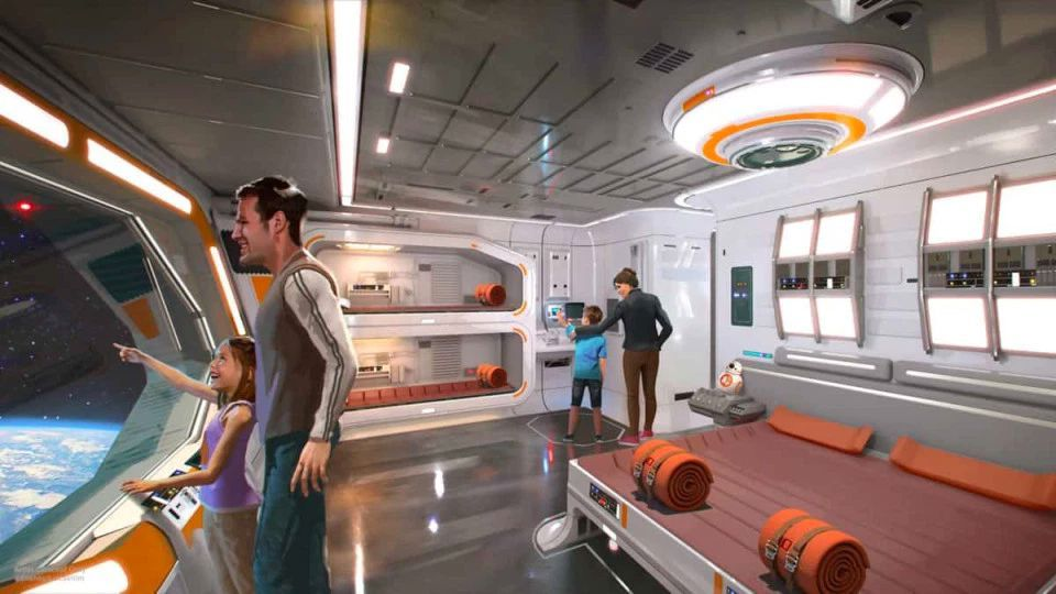 A cabin at the Star Wars: Galactic Starcruiser hotel