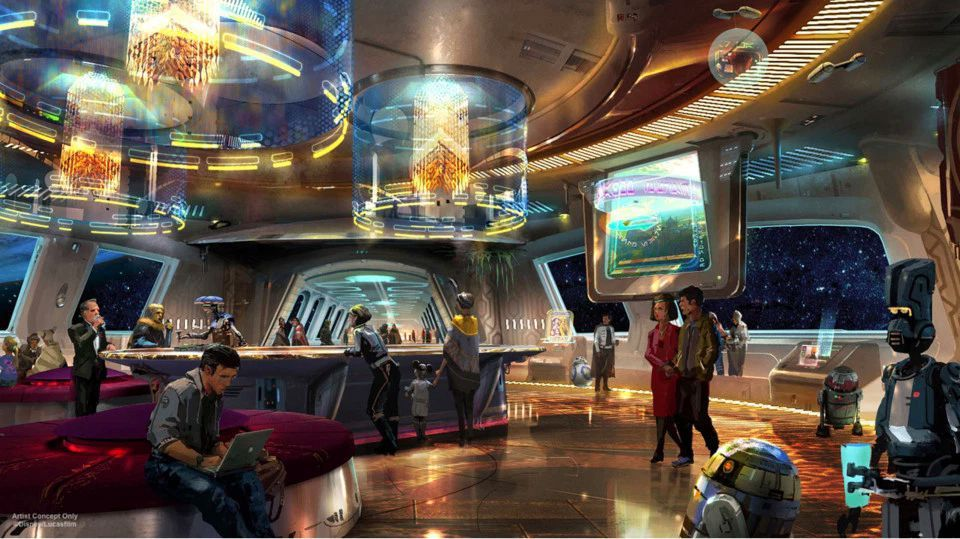 Lobby area at the Star Wars: Galactic Starcruiser hotel